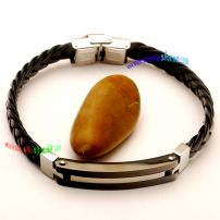 Stainless Steel Bangle Braided Leather Bracelet Stainless Steel Bangle