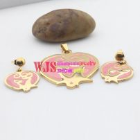 lovely pink pendant and earring makes more beautiful cute us stainless steel jewelry