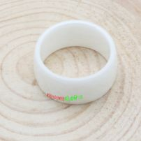 White Noblest Jewelry Imitation Ceramic Ring With Faceted Rhomb