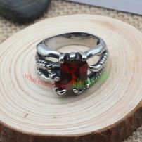 This ring with special design and red man-made jewel & made of stainless steel