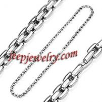24 Inch 7mm - Spikes 316L Stainless Steel Square Link Necklace