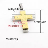 rectangular plating yellow and silver two layers of cross with spots cracks on fashional for man and women floating locket