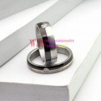 2014 black silver color man-made gem stone ring couple stainless steel ring 316L fashion design ring【Man】
