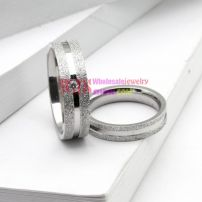 silver color couple artificial gem frosting ring stainless steel 316L ring elegant fashion ring[Man ]
