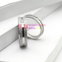 silver color couple artificial gem frosting ring stainless steel 316L ring elegant fashion ring[Women]