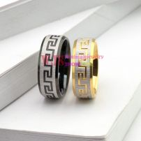 2014 new style China pattern classic gold black color ring stainless steel ring couple anti-corrosion fashion ring[Gold]