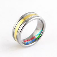 tungsten ring plating gold color and black bands 3mm width 8mm