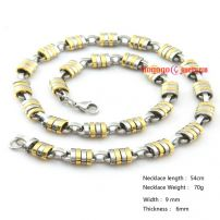 golden and silvery stainless steel necklace