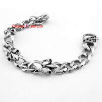 Allergy-Free Stainless Steel Bracelets interlocking lily carved silver bracelet casting Length: 21.5 cm