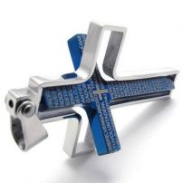 Cross stainless steel pendant blue can rotate part