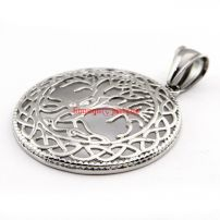 Gentleman's Wholesale Unique Stainless Steel Tree Shape Round Silvery Vintage Necklace Pendant Length:3.9 cm