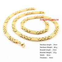 8 mm Men's Stainless Steel Byzantine Chain Necklace Fashion Jewelry Sets gold bracelet