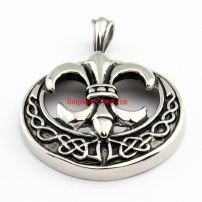 Men's High Quality Stainless Steel Silvery Knight Fleur De Lis Shape Vintage Style Pendant Necklace Chain Length: 5.2 cm