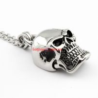 Gentleman's Wholesale Manufactory Stainless Steel Skull And Ring Shape Punk Silvery Necklace Pendant Length:4.5 cm