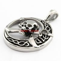Male's Special Newest Designed Jewelry Stainless Steel Pirate Skull Shape Vintage Necklace Pendant Length:5.6 cm