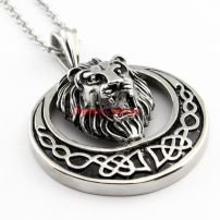 Men's Great Souvenirs Wholesale Stainless Steel Silvery Lion Head's Shape Fashion Style Pendant Necklace Chain Length: 6.1 cm