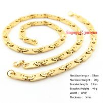 8MM Men Dubai gold jewelry necklace and bracelet set Stainless Steel Jewelry Necklace length: 54cm