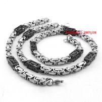 Men's Stainless Steel Black and White Double color bracelet necklace Necklace Set Necklace length: 54cm