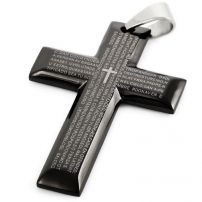 316L Stainless Steel Goliath Prayer Cross Pendant - Black
