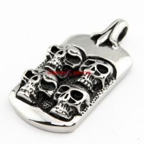 Men's High Quality Wholesale Stainless Steel Silvery Skeletons Shape Gothic Style Pendant Necklace Chain Length: 6.1 cm