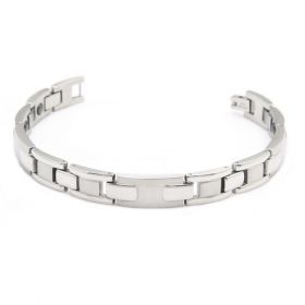 Gentleman Newest Jewelry Stainless Steel Magnetic Therapy Beads Bike's Chain Shape Silvery Polished Bracelet Length: 19.5 cm