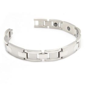 Gentleman Vintage Elegant Stainless Steel Magnetic Therapy Beads Bike's Chain Shape Silvery Polished Bracelet Length: 21.5 cm