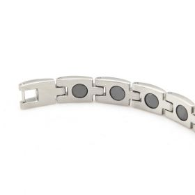 Gentleman Hot Newest Jewelry Stainless Steel Magnetic Therapy Beads Silvery Polished Bracelet Length: 19.5cm