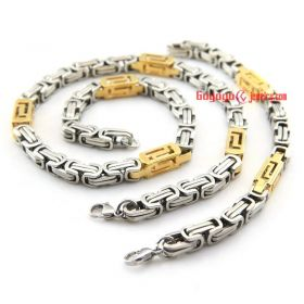 2015 latest Men's 8 mm full stainless steel link bracelet necklace of gold and silver Byzantine Chain Set Cycling
