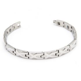 Gentleman Newest Jewelry Stainless Steel Cross Shape Pattern Magnetic Therapy Beads Silvery Polished Bracelet Length: 21cm
