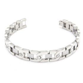 Women Hot Sale Stainless Steel Magnetic Therapy Beads X-letter Shaped Shinning Gem Silvery Bracelet Length: 20cm