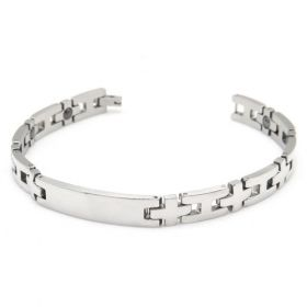 Gentleman Vintage Fashion Stainless Steel Magnetic Therapy Beads Christ Cross Shape Silvery Polished Bracelet Length: 21cm