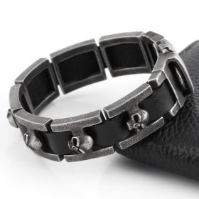 2016 New Genuine leather bracelet men stainless steel Bracelet High Quality skull bracelets for men