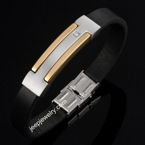 Comfortable Stainless Steel Leather bangle