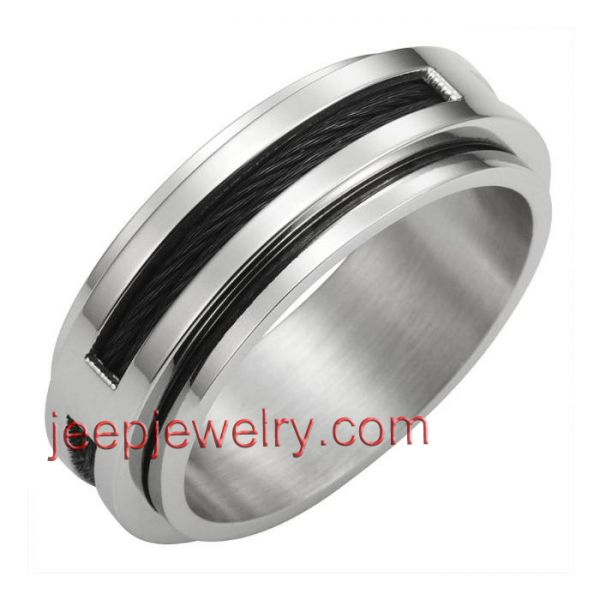 Unique stainless steel ring studd cable powerful symbol 8mm