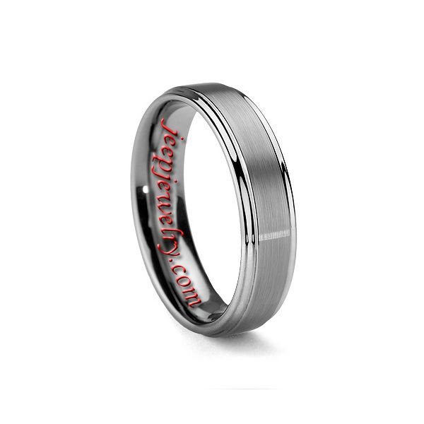 6mm mens or womens brushed tungsten carbide wedding ring