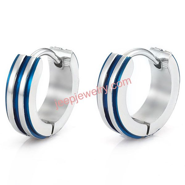 Mens RnB Silver Metallic Blue Stainless Steel Hoop Earrings