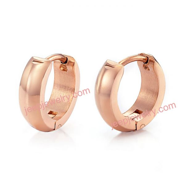 Unique Mens RnB Stainless Steel Rose Gold Hoop Earrings