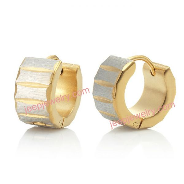 Unique Rolling Style Men Stainless Steel Hoop Earrings Gold