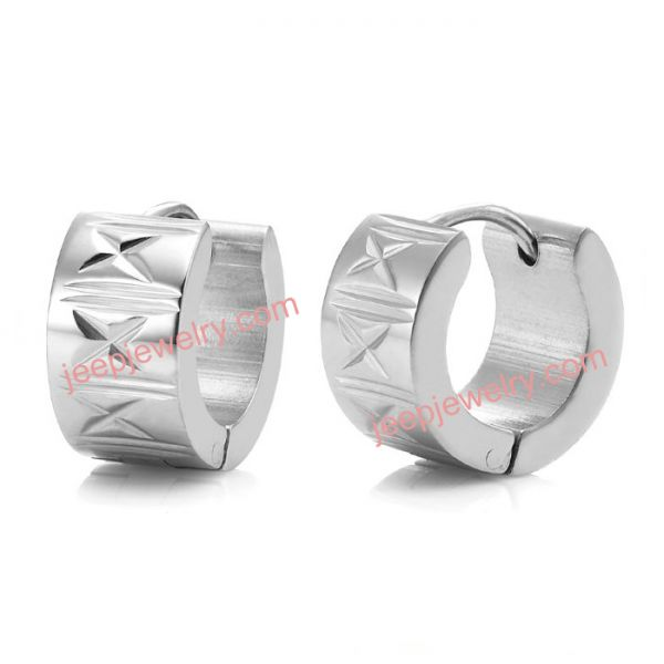 RnB Stainless Steel Encrypted Stars Mens Hoop Earrings Silver