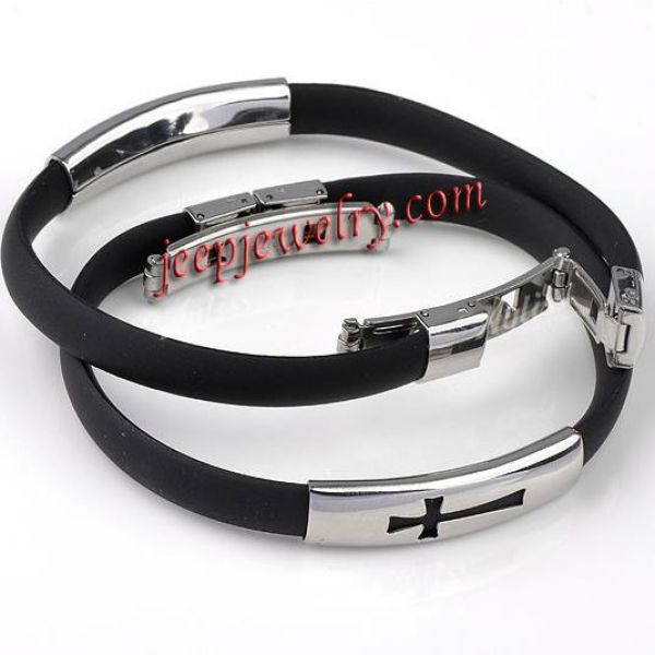 Black Rubber 316L Stainless Steel Cross Mens Boys Wristband Bangle Bracelet 8\