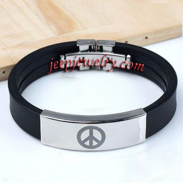 Stainless Steel Peace Sign Rubber Bracelet Fashion Punk Bangle Cuff Unisex