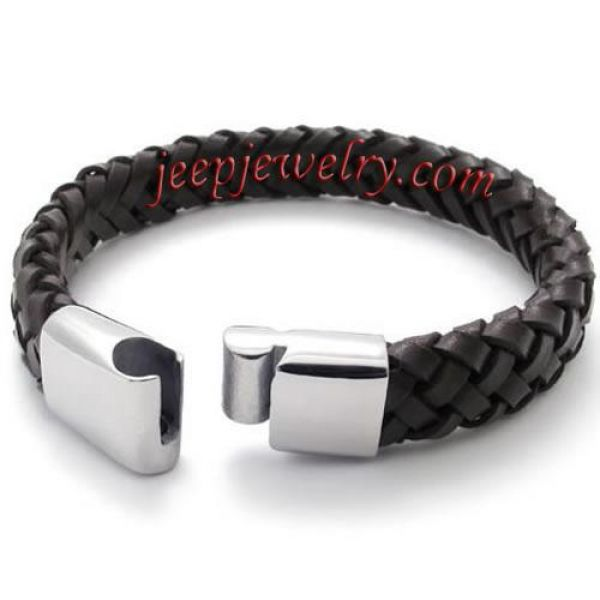 Braided Brown Leather Stainless Steel Mens Bracelet Bangle