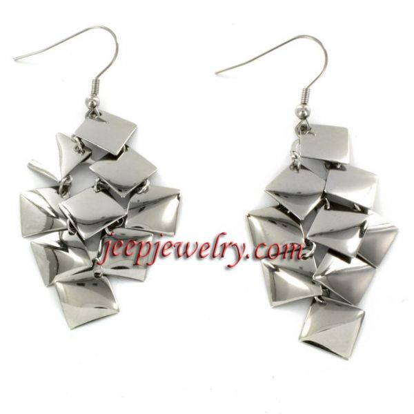 Stainless Steel Dangle Squares Earrings