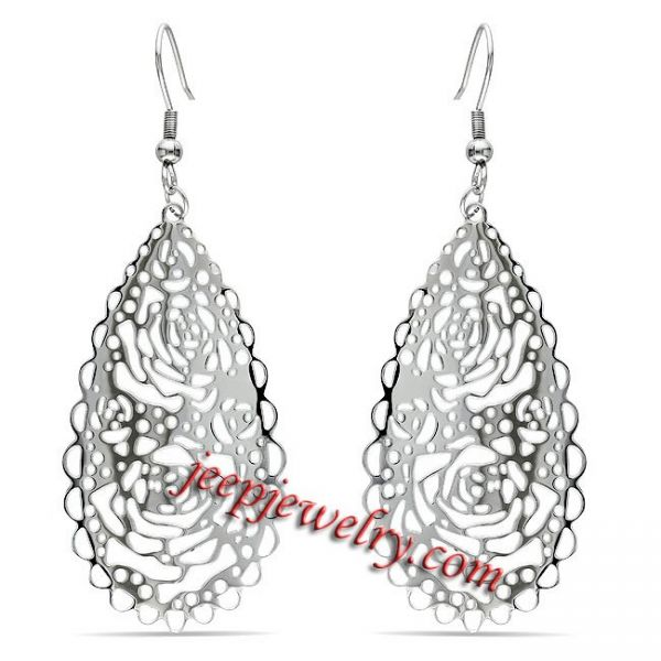 Miadora New! Stainless Steel Openwork Rose Design Dangle Earrings