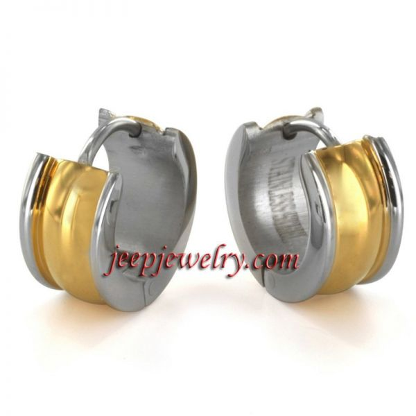 Jewelry Twotone Goldplated Stainless Steel Earrings