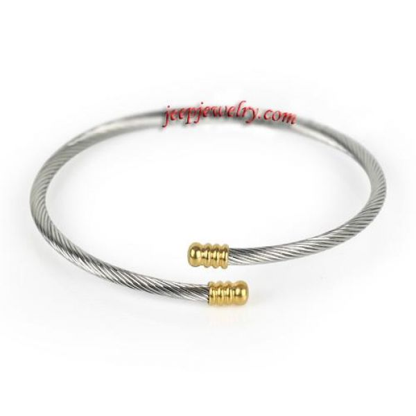 Vogue Silver Gold 316L Stainless Steel Rope Womens Girls Cuff Bangle Bracelet
