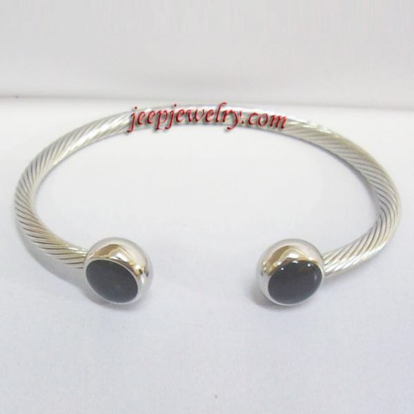 Black Cap Magnetic Bracelet Cuff Bangle Wristband Therapy Stainless Steel Wire