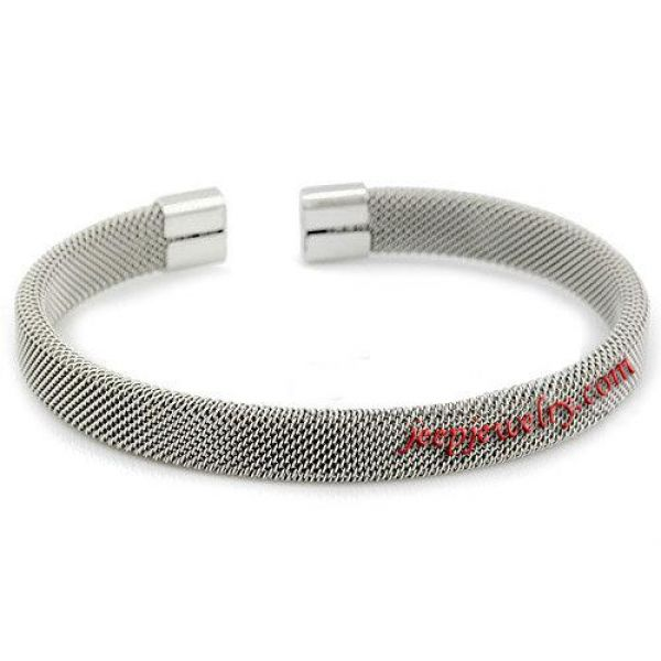 Womens Modern Silver 316L Stainless Steel Mesh Cuff Open End Bangle Bracelet