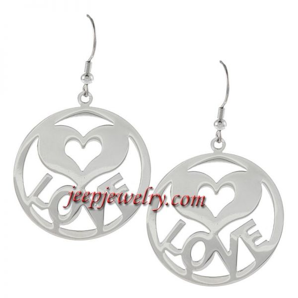 Wholesale Stainless Steel Circle Earrings with 'LOVE'&HEART DETAIL