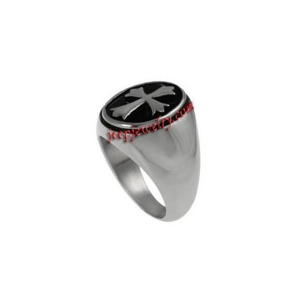 Daxx Stainless Steel Men's Oval and Cross Ring